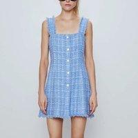 ZXQJ Zarif Kadın Tüvit Sun-Elbise Yaz Moda Bayanlar Vintage Gem Düğme Elbiseler Boho Kadın Ince Midi Elbise Kızlar Chic 210324