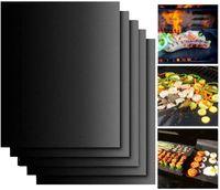 Kupfergrillmatte 33 * 40 cm Hochleistungs-BBQ-Grillmatten Nicht-Stock, BBQ-Grill-Backmatten wiederverwendbar leicht zu reinigen (schwarz)
