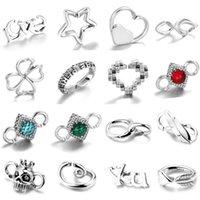 Inne najwyższej jakości 925 Sterling Silver CZ Serce Urok Złącza Guma X Bransoletki Kobiety Mężczyźni Akcesoria DIY Biżuteria Wyniki Tworzenie