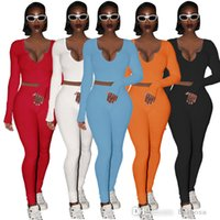 Women Designers Clothes 2021 Ribbed Tracksuits 2 Two Piece Outfits New Fall Winter V-neck Thread Long Sleeve Pants Jogger Set