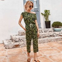 2021 Summer Fashion Camouflage Lace Up Women Office Lady Calf-length Pants Jumpsuits New Jxbq