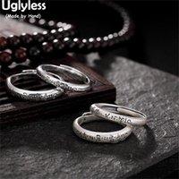 Cluster Ringe Uglyless doppelt seitlich geschnitzt 1 Stück Buddhismus Liebhaber 990 Vollsilber 6-Wort-Mantra offen für Männer Frauen Paare Schmuck
