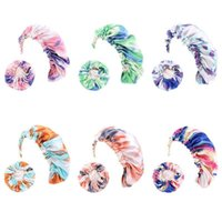 Mommy and Me Satin Bonnet Adjustable Double Layer Sleep Cap Parents and Kids Tie dyed Turban Hair Cover Night Hat