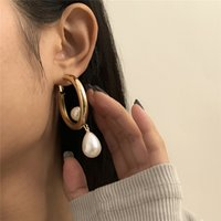 Retro Imitation Pearl Metal Stud Earring European Geometric Glossy Circle Eardrop Water Drop Business Style Dangle Earrings Jewelry Wholesale