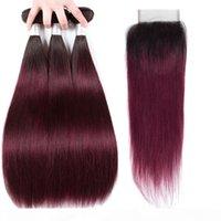 Capelli lisci brasiliani per-colorati 3 fasci con chiusura T1b99J 1B Borgogna estensioni dei capelli umani ombre di capelli non remy weave bundles hcdiva