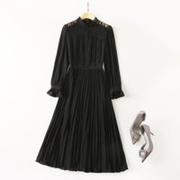 2021 Fall Autumn Luxury Long Sleeve Dress Black Solid Color Round Neck Lace Mid-Calf Dresses S180824-04