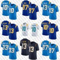 10 Justin Herbert Football Jersey 97 Joey Bosa 13 Keenan Allen 33 Derwin James Jr 30 أوستن Ekeler مخيط الفانيلة
