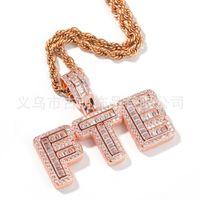 Hotsale hip hop nome personalizzato baguette lettera collana pendente con catena di corda gratis oro argento argento bling zirconia uomini pendente gioielli 133 u2