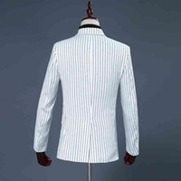 Men's Suits & Blazers Male two-piece suit, pijtrl, set of striped white dress, wedding clothes, tuxedo, modern 8ZKX