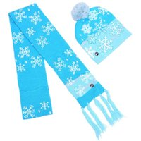 Led Knitted Hat Scarf Suit Christmas Bobbles Kids Caps Winter Warm Snow Tree Crochet With Lamp Festival Party Decor 2pcs Set 25hb G2