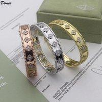 Donia joyería tri color galvanoplastia exagerada plum flor titanio acero micro incrustado circón pulsera pulsera pulsera lujo bracele