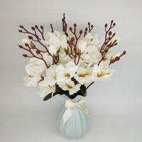 Flores decorativas grinaldas 1 simulação de buquê de flor de magnólia orquídea de neve frésia casa indoor wddding decoração artificial falsifica silk pla