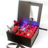 Flower Soap Rose RFID Blocking Leather Multifunctional Organ Card Holder LED Case Wedding Decoration Gift Festival Box Decorative Flowers &