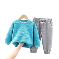 New Autumn Baby Boys Girls Vestiti Moda Bambini T-shirt Pantaloni 2pcs / Set Toddler Casual Costume Casual Abbigliamento per bambini Bambini Tracksuit Y0909