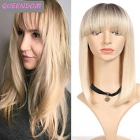 Synthetic Wigs Omber Blonde Short Straight Bob Wig Honey Shoulder Length Women's Heat Resistant Lolita With Bangs