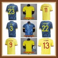 Oyuncu Sürümü 2021 2022 Kolombiya Futbol Formaları 21 22 Kolombiya Erkekler Camiseta de Futbol James Falcao Cuadrad Valderrama Futbol Gömlek SFSF