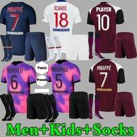 Mbappe Men Kids Mailleots de Football Kit 20 21 Soccer Jerseys 2021 Di Maria Kean Verratti الفانيلة الثالثة إيكاردي قميص كرة القدم الرابع