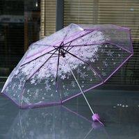 100 pz / lotto Trasparente Clear Ombrello Maniglia Antivento a 3 volte ombrello Ciliegia Blossom Fungo Apollo Sakura Donna Ombrello GWE1
