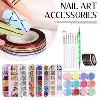 Nail Art Kits Pattern Kit With Dotting Painting Pen 12colors Rhinestones Acrylic Powder Striping Tape Manicure Tool Set