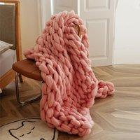 Одеяла yiruio бренд уютный коренастый вязать одеяло для кроватей диван дом украшения розовый желтый голубой плед теплый подстерегаемый взвешенный бросок