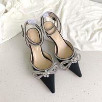 Diamond Lady's Sandals Zapatos de cordones Tacones altos Calzado de novia Tacón de tacón de tacón de aguja Adorno de arco de cristal Ultimate Luxury 6,5 cm y 9,5 cm Vestido de oficina negra