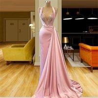 매력적인 핑크 섹시한 인어 댄스 파티 드레스 긴 깊은 V 넥 페르시 스팽글 바닥 길이 얼룩 공식적인 저녁 파티 착용 기차 사용자 정의 만든