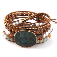 Tennis Fashion Women Leather Bracelet Mixed Natural Stones Crystal Stone Charm 5 Strands Wrap Bracelets For Drop Shippers