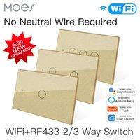 Smart Home Control WiFi Light Switch RF433 No Neutral Wire Single Fire Life Tuya App Works With Alexa Google 110V 220V