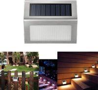 6 LED Lâmpadas Solares de Iluminação Ao Ar Livre Luzes Frio Branco Decoração de Aço Inoxidável Para Escadas Passo Patio Pátio Auto On / Off Weatherproof