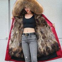 Women's Fur & Faux 2021 Waterproof Long Parka Real Raccoon Coat Jacket Streetwear Warm Winter Ladies Natural Collar