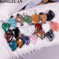 Wholesale смешанные каменные подвески кривые сердца формы болтовни болтовни бусины подвесные аксессуары подходят для ожерелья серьги настроить DBV004