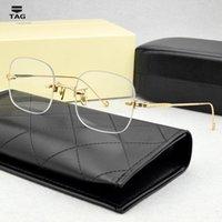 خفيفة خمر النظارات البصرية الإطار الرجال بدون شفة الذكور فرملس وصفة المعادن مربع الكورية تصميم النظارات المعدنية النساء أزياء سونغ