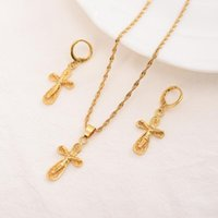 Earrings & Necklace Jesus Cross Pendant Necklaces 18 K Fine Yellow Gold Filled Egyptian Sets Women Egypt Hieroglyphs Charm Jewelry