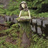 Figurine Fern Fairy statuario con alimentatore per uccelli ornamento all'aperto ornamento resina decorazioni giardino decorazione giardino elfo statua