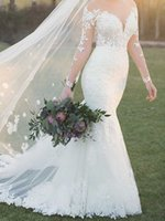 Eye Catching Mermaid Wedding Dress Sheer with Applique Long Sleeves Bridal Gowns Lace-up Back
