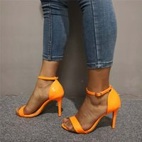 Handmade Ladies Stiletto High Heeled Sandals Real Photos Buckle Ankle Strap Orange Style Open-toe Daily Wear Fashion Party Prom Summer Shoes D629
