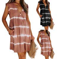 Women's Casual Dresses 2021 Summer Women's Lotus Leaf Sleeve V-neck Beach Casual Dress
