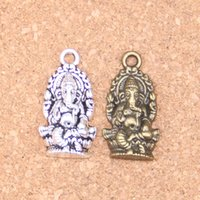55pcs 골동품 실버 청동 도금 된 Ganesha 코끼리 부처님 매력 펜던트 DIY 목걸이 팔찌 팔찌 발견 26 * 14mm