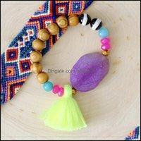 Bangle Bracelets Jewelrybangle Women Ethnic Style Fashion Bracelet Hand-Woven Blue Eyes Wooden Bead Tassel Pendant Arm Aessories Southeast T