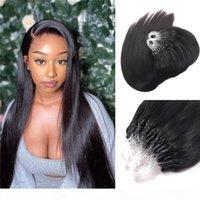 Slik Straight Micro Ringschleife Haarverlängerungen Körperwelle Natürliche Schwarze Micro Perle Links Menschliche Haarverlängerungen 100g 1g Strang