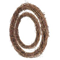 Decorative Flowers & Wreaths 2PCS Practical Xmas Rattan Circle Decor Manual Wreath Vine Ring DIY Prop