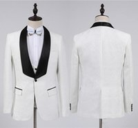 Men's Suits & Blazers Fashion White Groom Tuxedos Groomsmen One Button Shawl Collar Man Suit Wedding Mens Blazer (Jacket+Pants+Vest+Bow Tie