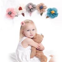 귀여운 쉬폰 꽃 공주 머리핀 어린이 여자 아이들 안전 머리 클립 바비 핀 액세서리 Barrettes hairclip headwear