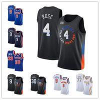 Homens derrick rosa novoIorqueKnicks 33 Patrick Ewing 30 Julius Randle 9 RJ Barrett 77 Doncic 2021 Black City Basketball Edition Jersey-3
