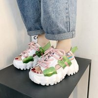 Dress Shoes Women Platform Sandals Ulzzang Fashion Designers Lace Up Chunky Casual Sports Wedges For Woman Sandal 2021