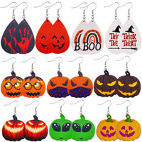 Dangle & Chandelier 10pcs lot V0108 Halloween Leather Earrings Pumpkin Bat Double-sided Printed PU Sell Like Cakes