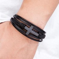 Charm Bracelets Classic Style Cross Men Bracelet Multi-Layer Stainless Steel Leather Bangles Magnetic Clasp For Friend Fashion Jewelry Gifts