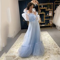Bateau Neck Tulle A Line Prom Dresses Ruched Sash Long Sleeves Evening Dress Zipper Back Special Occasion Party Bride Gowns