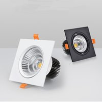 Square LED Downlight 디 밍이 가능한 스포트라이트 COB 오목한 조명기구 7W / 9W / 12W / 15W 천장 램프 AC85-265V