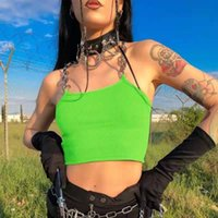 Women's Tanks & Camis Women Sexy Chains Spaghetti Straps Neon Green Canale Patchwork 2021 Summer Fashion Club Party Streetwear Female Crop T
